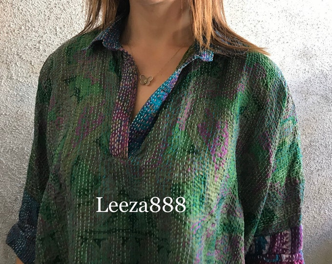 V neck collared silk kantha shirt