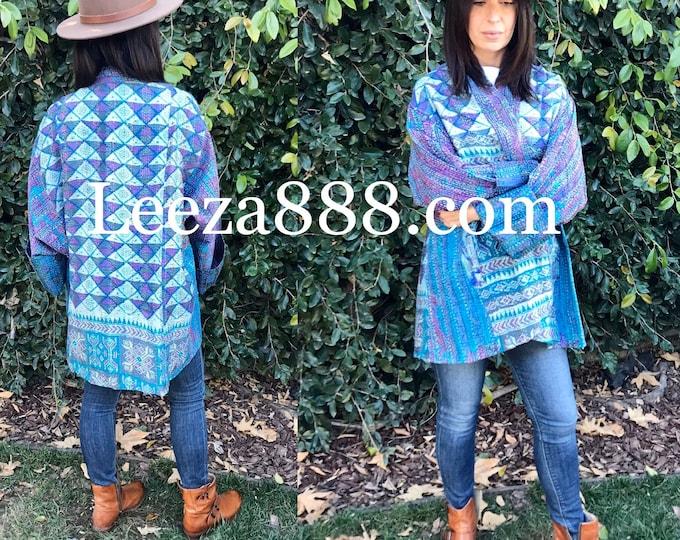 Matisse inspired kantha plus size reversible kimono jacket