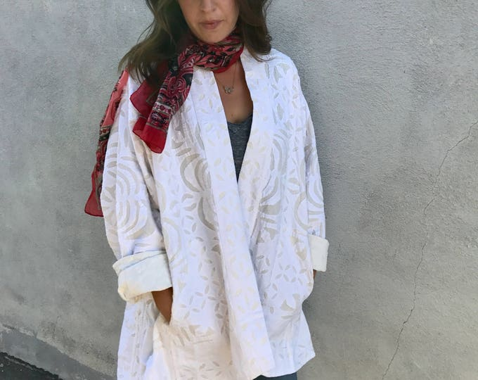 White cotton cutwork quilted jacket