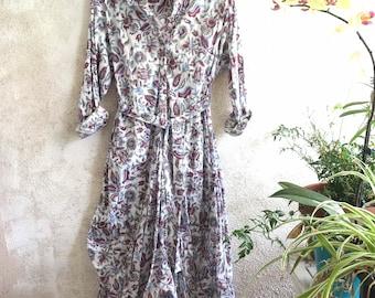 Reserved for Elizabeth Vintage floral print funky dress with sleeves