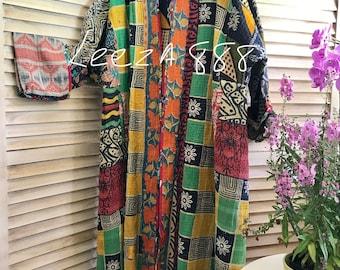 Plus size reversible opera kantha coat
