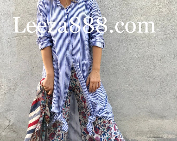 Size small blue floral lagenlook pant