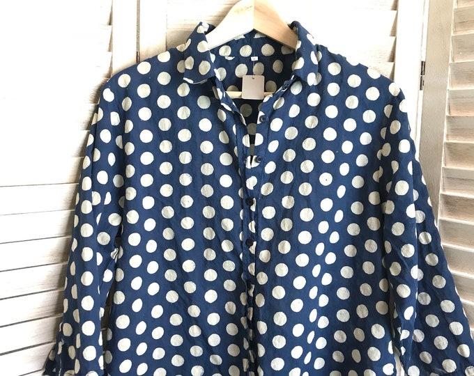 Block print polka dot cropped cotton voile shirt