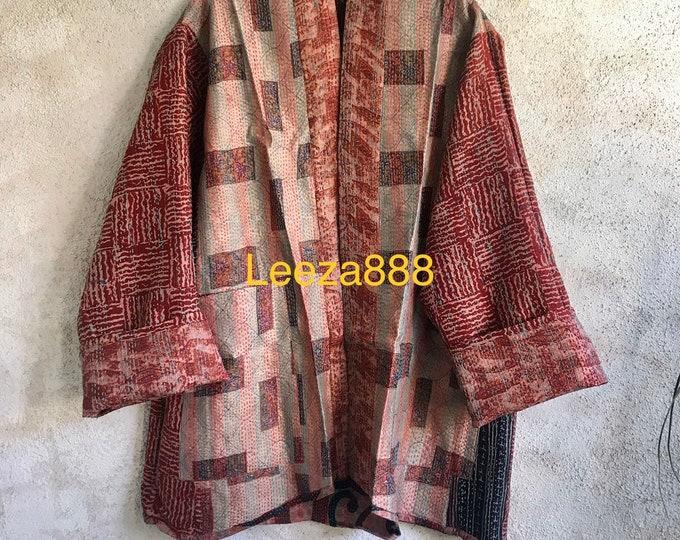 Modern vintage kantha plus size reversible kimono jacket