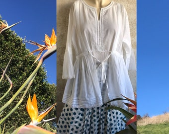 Polka dot funky skirt in block print cotton voile