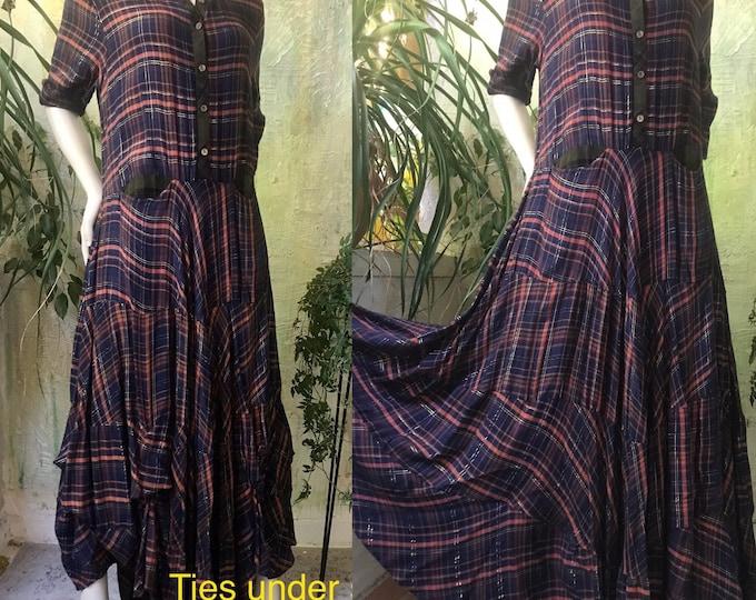 Shirtwaist prairie dress mixed print cotton flannel in dark navy with copper lurex