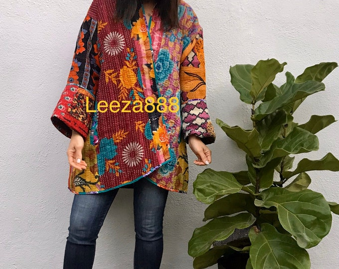 Carmel by the Sea reversible plus size vintage kantha kimono jacket