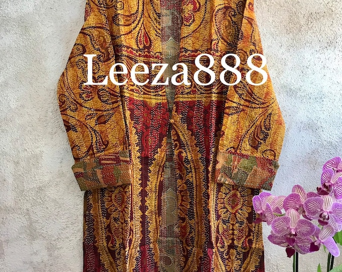 Spicy pumpkin pie colors combine in this fabulous artsy reversible longer silk kantha one button duster
