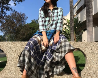 Shirtwaist prairie dress mixed print cotton flannel