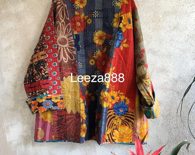 Piccadilly Circus reversible plus size vintage kantha kimono jacket