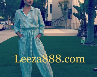 Turquoise stripe block print cotton voile jumpsuit