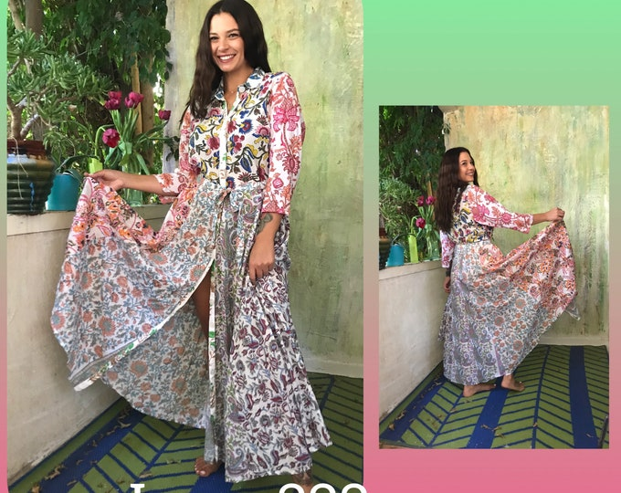 Cotton shirtdress in mixed block print with 8 gore skirt