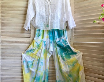 Size small hand painted lagenlook pants
