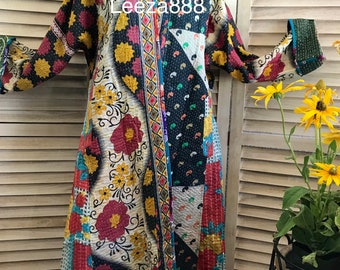 Artist coat in reversible patchwork cotton quilt
