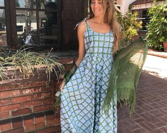 Green goddess Cotton poplin blockprint spaghetti strap dress