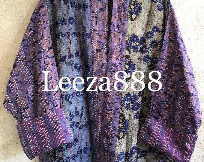 Purple Sage silk kantha  plus size reversible kimono jacket