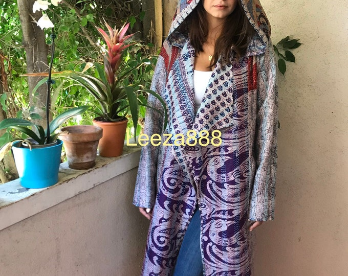 Ministry of Art silk kantha reversible hoodie