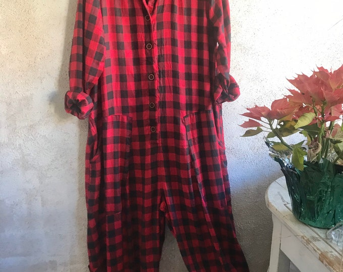 Red and black check cotton flannel jumpsuit