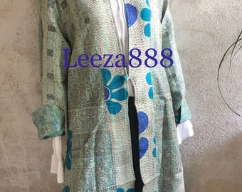 Flower Power color and print combination in this reversible longer silk kantha one button duster