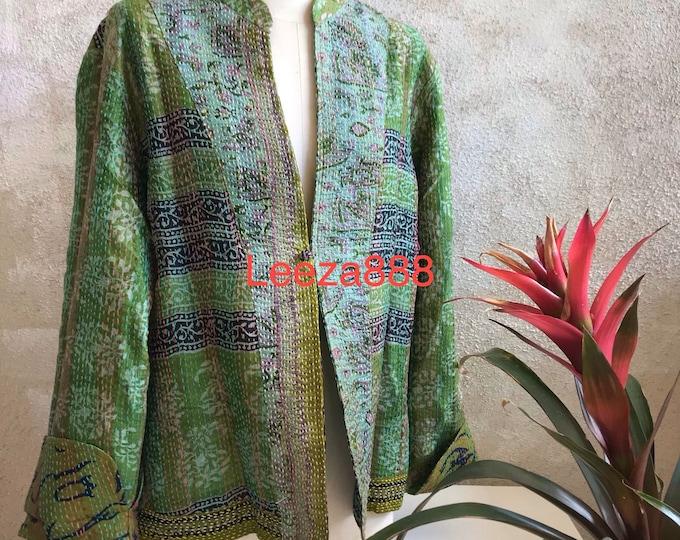 Grass is greener mandarin style reversible kantha cropped jacket