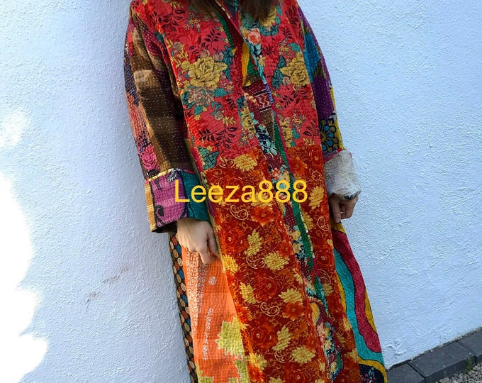Vacation in Venice reversible plus size cotton kantha stunner