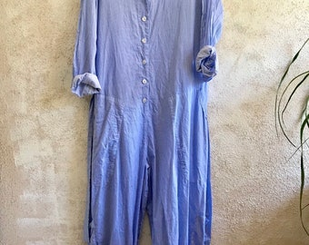 Blue and white pinstriped cotton flightsuit
