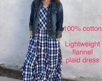 Cotton flannel lagenlook dress