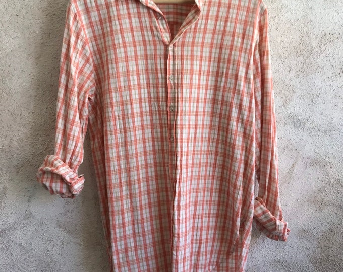 Washed windowpane cotton classic button down boyfriend shirt