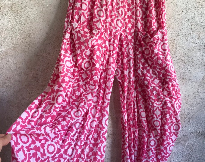 Pink abstract cotton voile funky pant