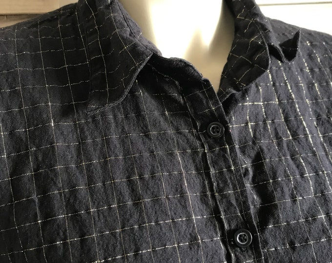 Lurex windowpane cotton top