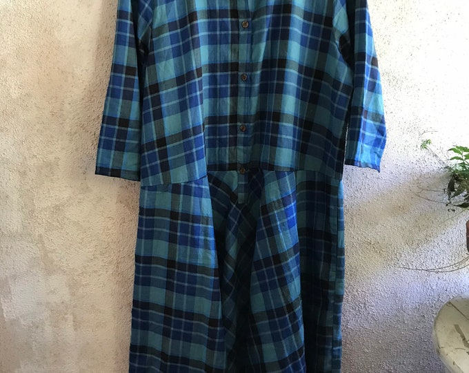 Cotton flannel shades of blue plaid housedress