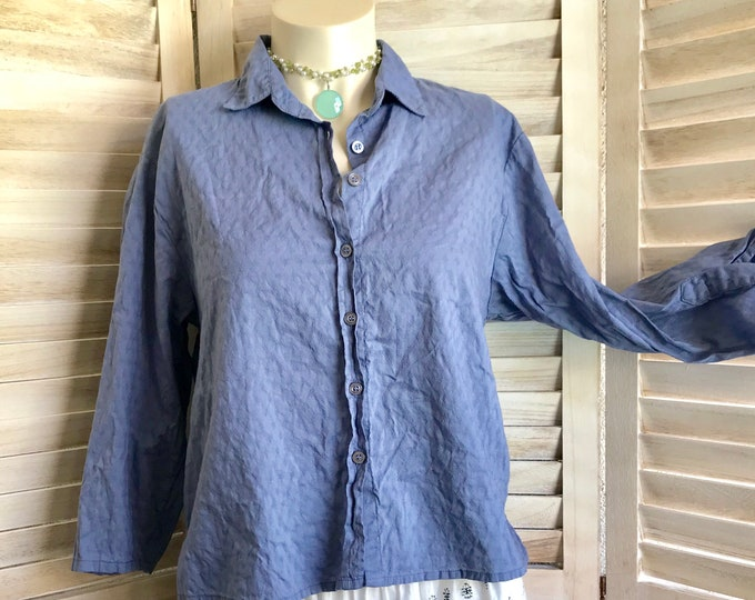 Blue/grey washed cotton button down crop shirt