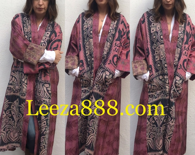 Pink primitivo plus size reversible silk kantha duster/kimono