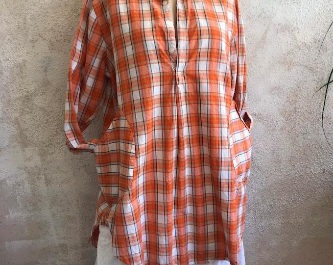 Washed cotton plaid classic 2 pocket oversized shirt