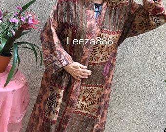 Mill Valley plus size reversible silk kantha duster/kimono