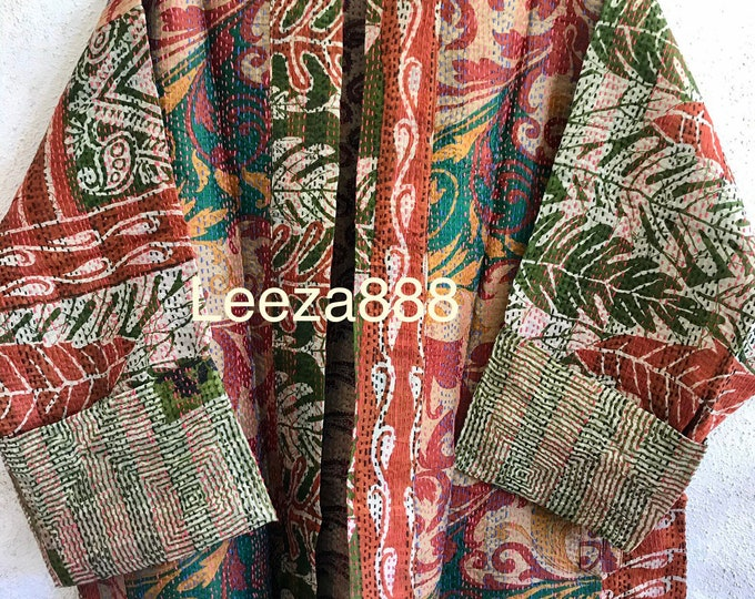 Topanga tapestry reversible pLUS SIZE upcycled silk sari jacket in gorgeous denim color