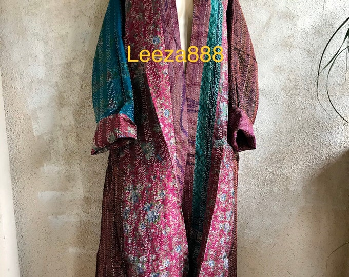 In the mood for Mozart plus size reversible silk kantha duster/kimono