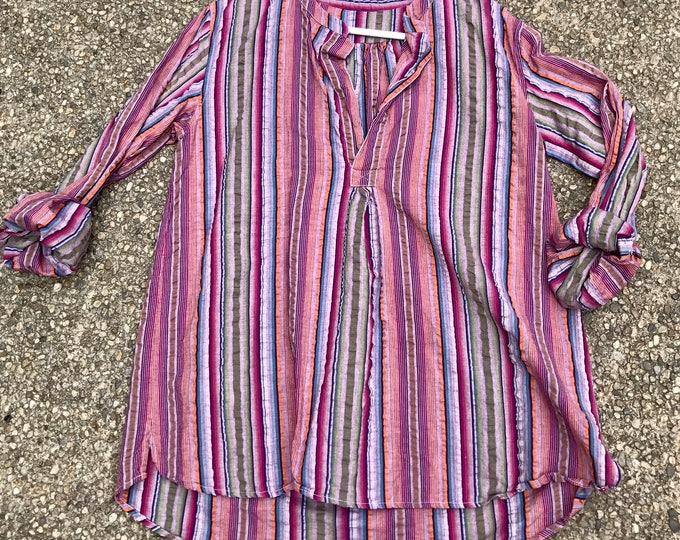 Seersucker morrocan stripe cotton shirt