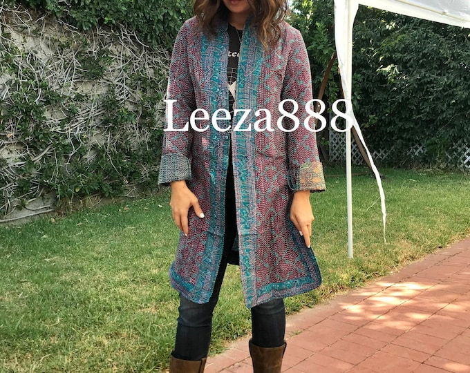 Turquoise and merlot colors combine in this fabulous artsy reversible longer silk kantha one button duster