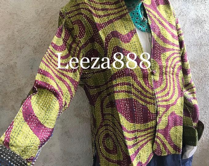PSYCHEDELIC swirl mandarin style reversible kantha cropped jacket