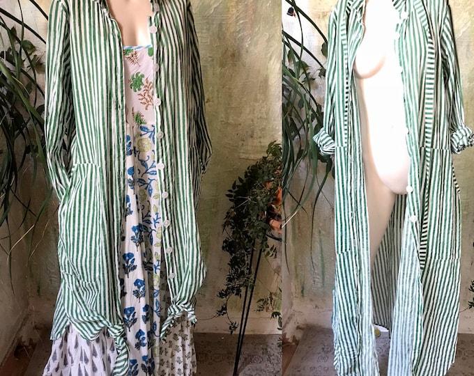 Shamrock green block printed striped button down shirtdress/duster