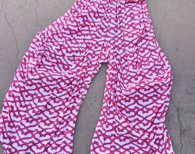 Pink abstract hearts cotton voile funky pant in size medium