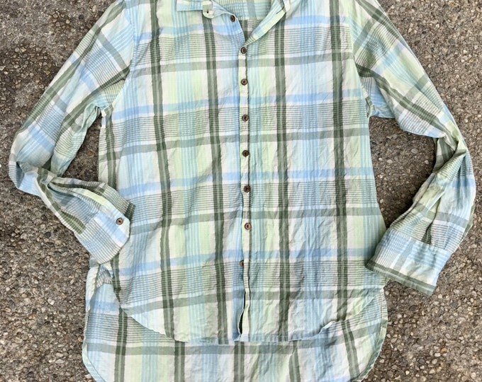 Washed plaid cotton boyfriend shirt