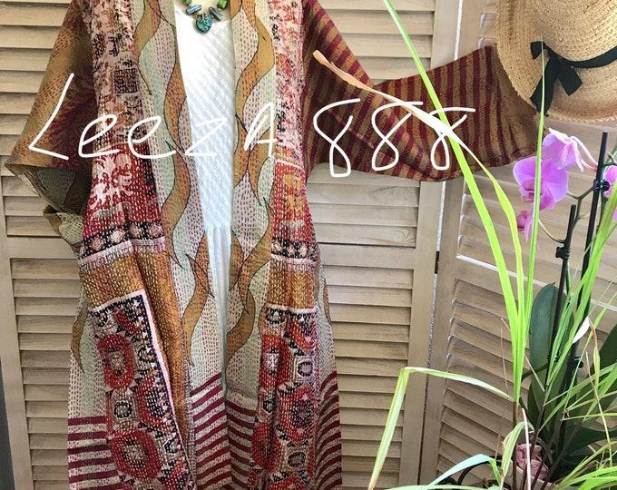 Artist reversible silk kantha kimono