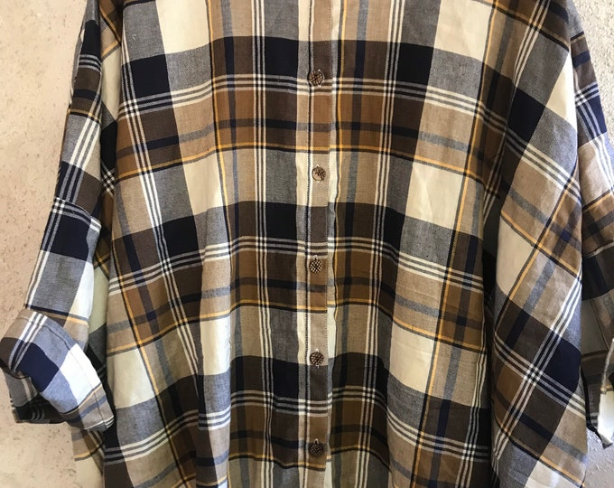 Button down flannel Tokyo shirt in brown navy and yellow plaid