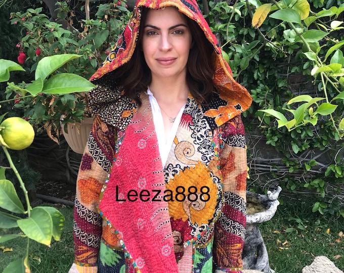 Escondido hoodie in reversible cotton kantha