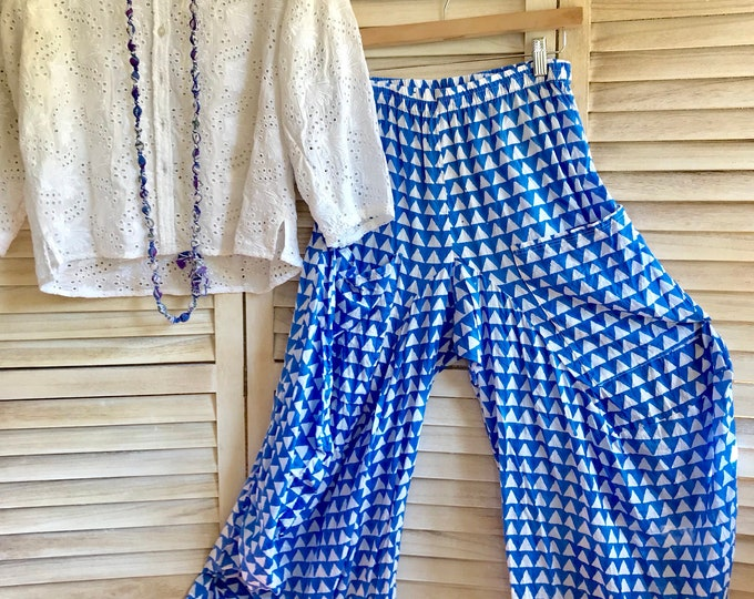 Pool blue cotton voile hand block print lagenlook pant