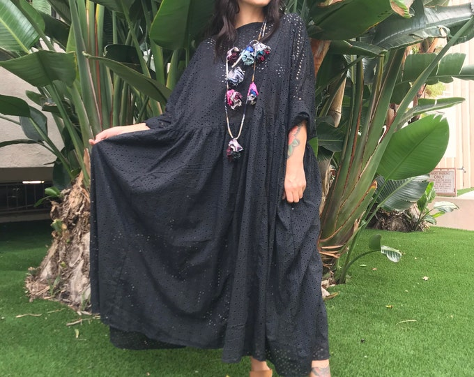 The Everybody Dress in laser cut black cotton