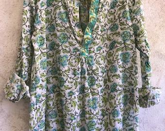 The Alexandra pullover shirt in garden green floral cotton voile