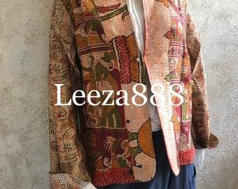 Versaille Garden mandarin style reversible kantha cropped jacket
